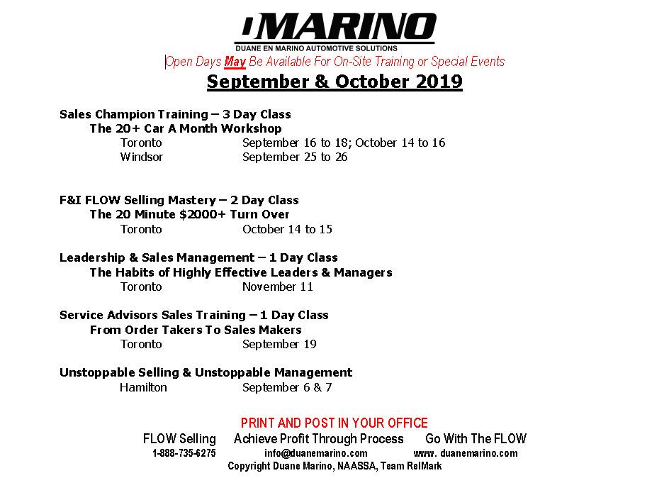 September October 2019 Workshop Calendar